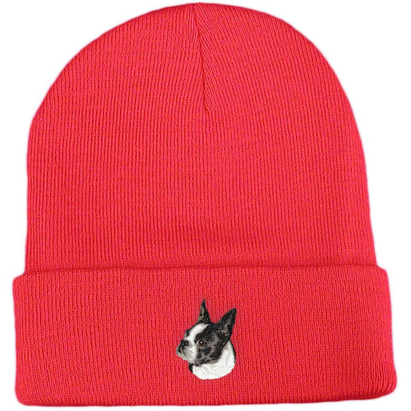Embroidered Beanies Red  Boston Terrier D50