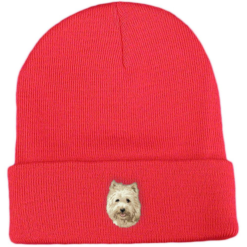 Embroidered Beanies Red  Cairn Terrier D106