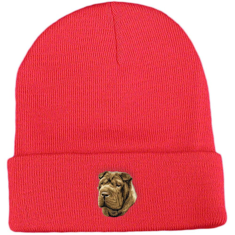 Embroidered Beanies Red  Chinese Shar Pei D45