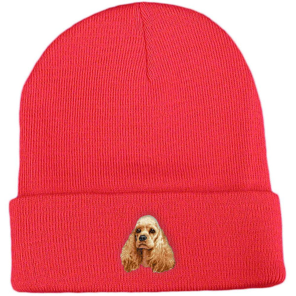 Embroidered Beanies Red  Cocker Spaniel D20