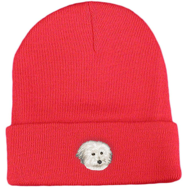 Embroidered Beanies Red  Coton de Tulear DV217