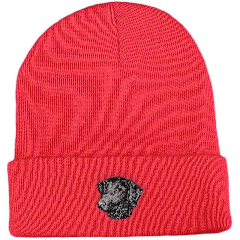 Embroidered Beanies Red  Curly Coated Retriever D137