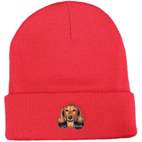 Embroidered Beanies Red  Dachshund D109