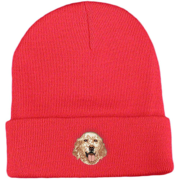 Embroidered Beanies Red  English Setter DV457
