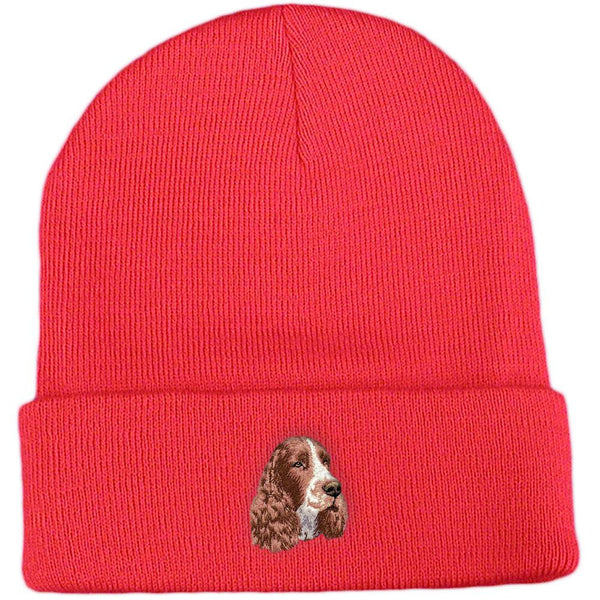Embroidered Beanies Red  English Springer Spaniel D130