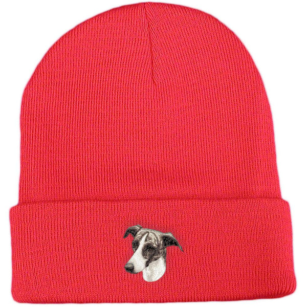 Embroidered Beanies Red  Greyhound D69