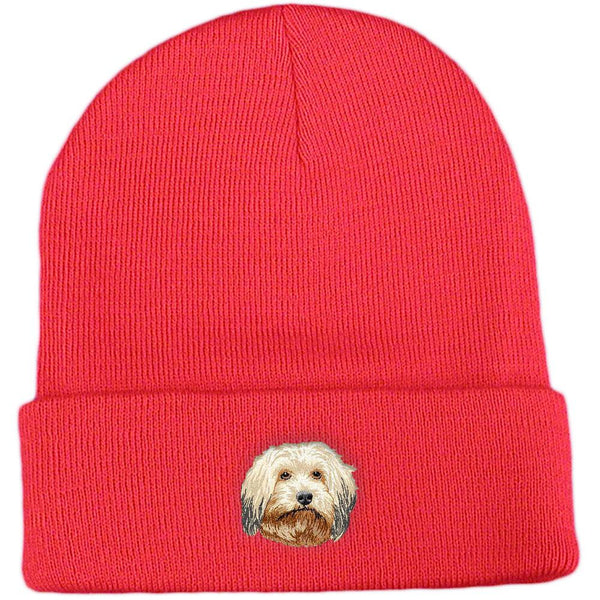 Embroidered Beanies Red  Havanese DV372