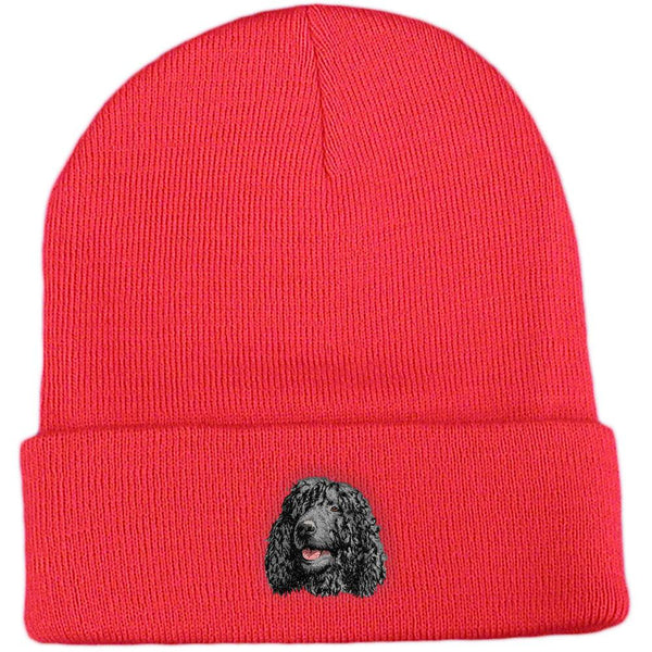 Embroidered Beanies Red  Irish Water Spaniel D145