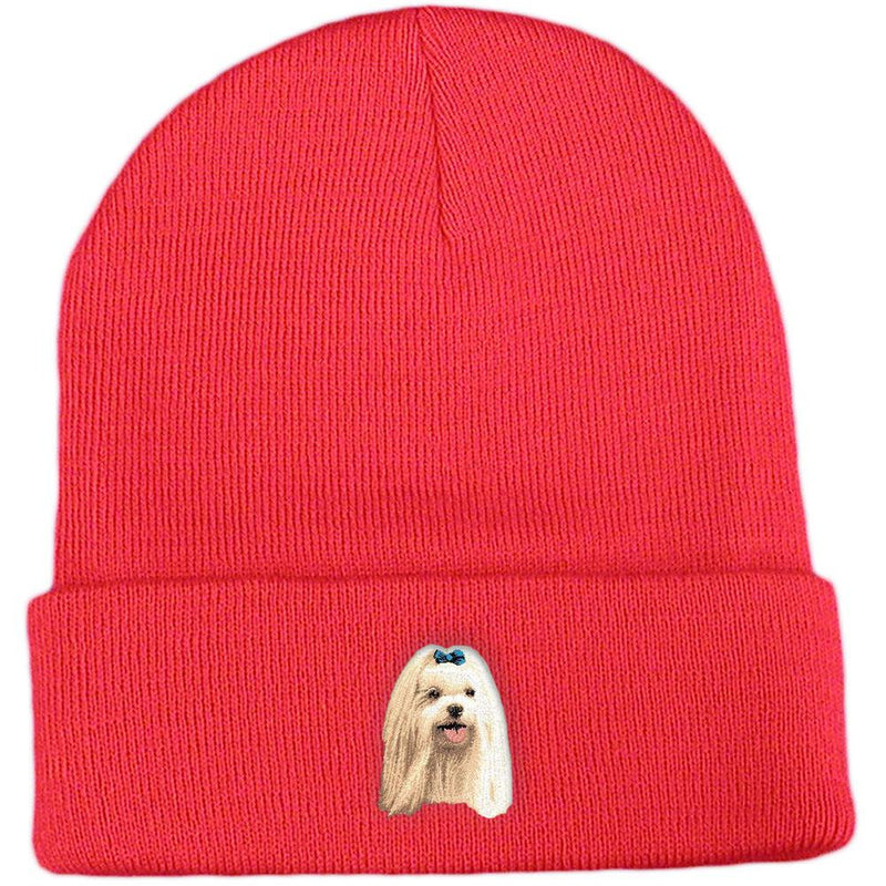 Embroidered Beanies Red  Maltese D64