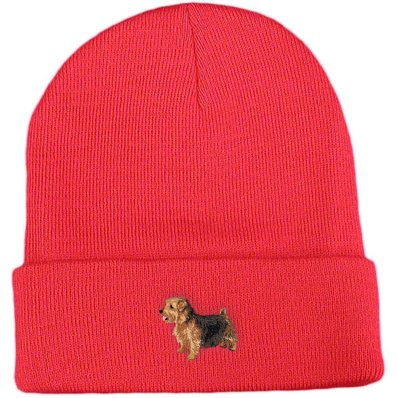 Embroidered Beanies Red  Norfolk Terrier DJ277