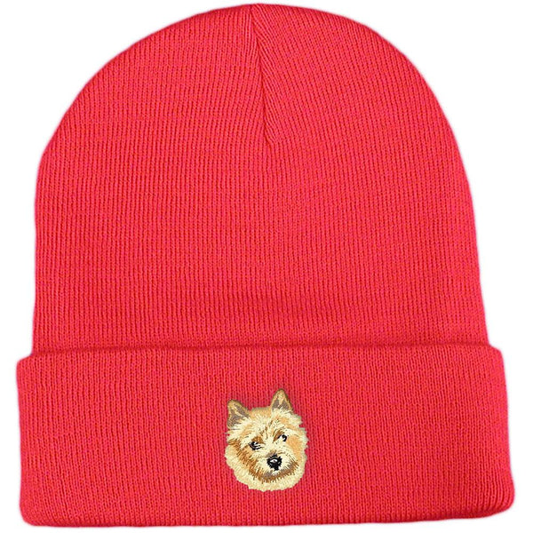 Embroidered Beanies Red  Norwich Terrier DV158