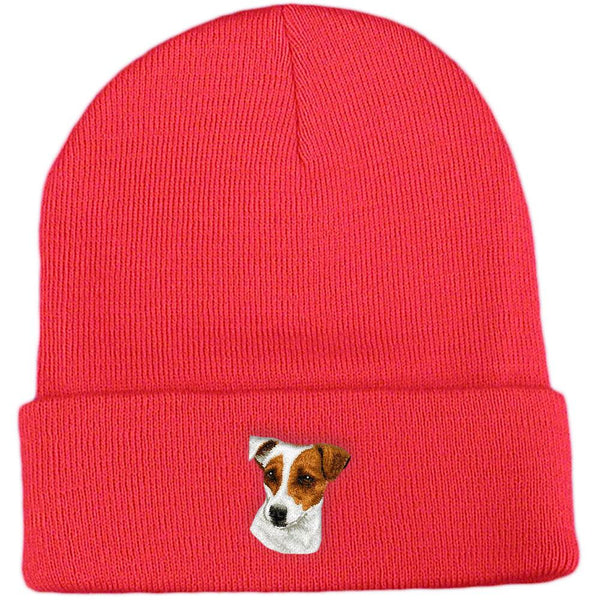 Embroidered Beanies Red  Parson Russell Terrier D26