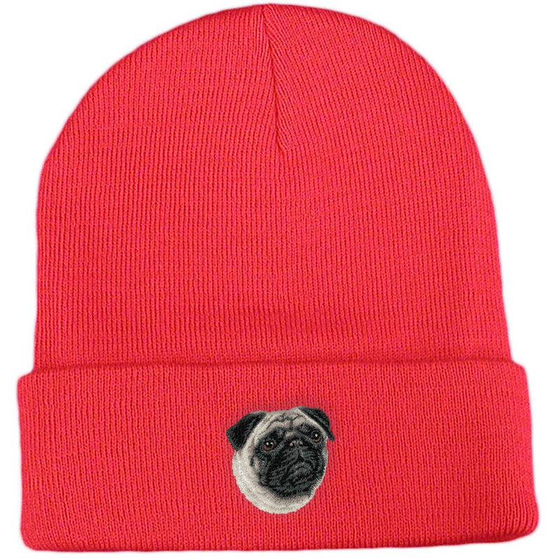 Embroidered Beanies Red  Pug D63