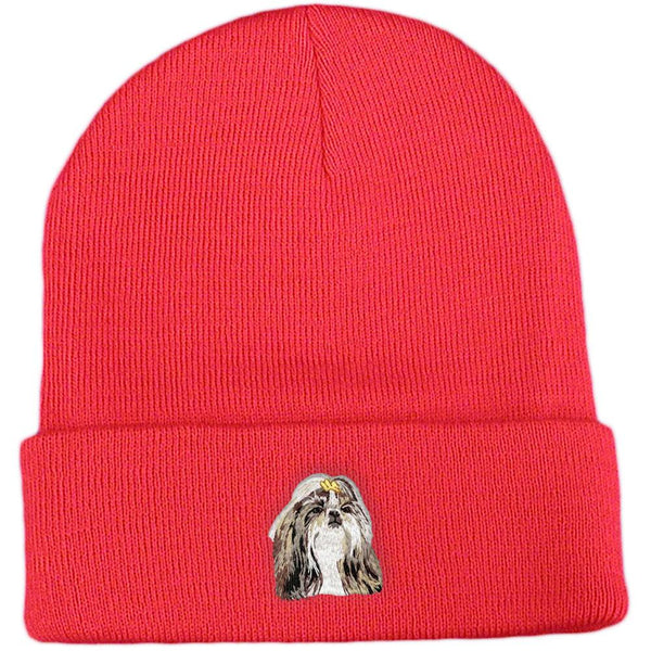 Embroidered Beanies Red  Shih Tzu DN390