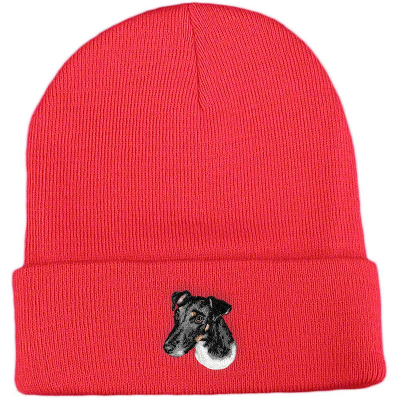 Embroidered Beanies Red  Smooth Fox Terrier D134