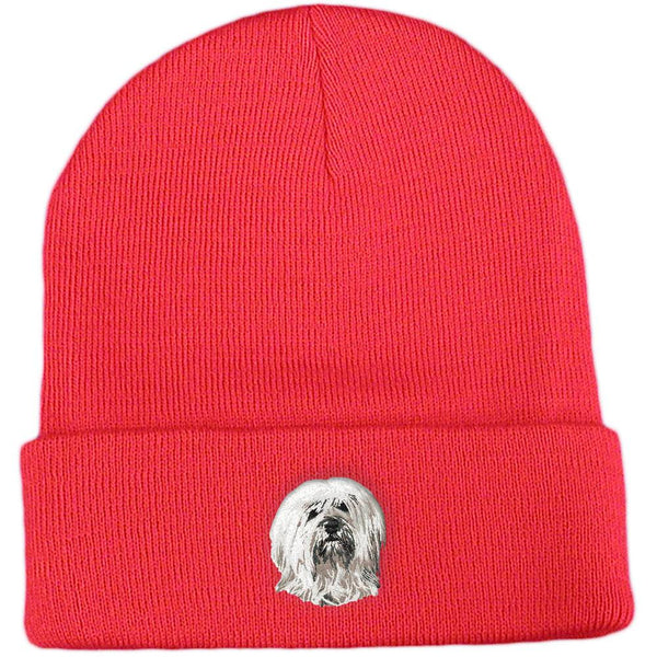 Embroidered Beanies Red  Tibetan Terrier DN391
