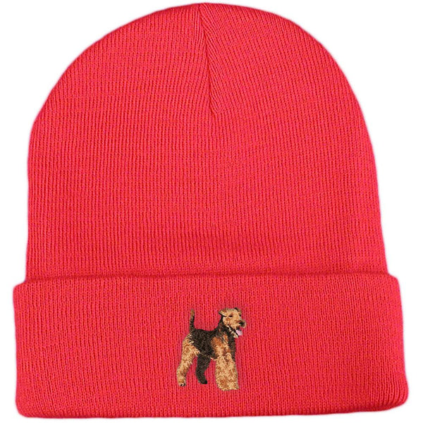 Embroidered Beanies Red  Welsh Terrier DJ241