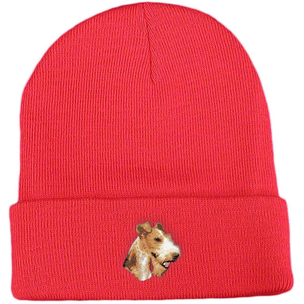 Embroidered Beanies Red  Wire Fox Terrier D107