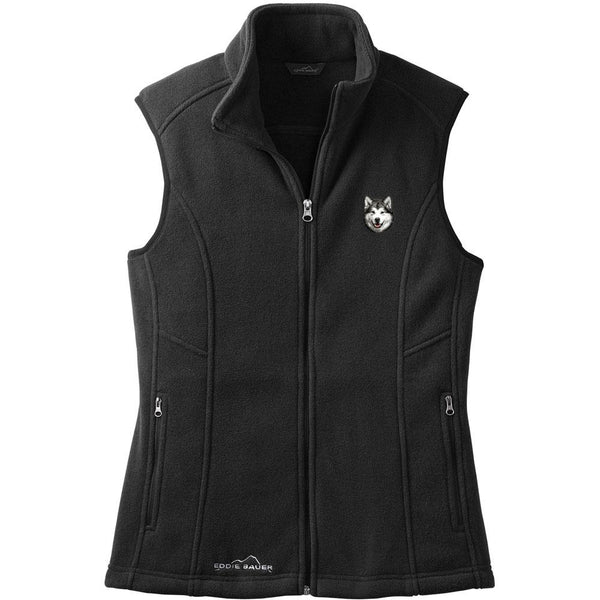 Embroidered Ladies Fleece Vests Black 3X Large Alaskan Malamute D33
