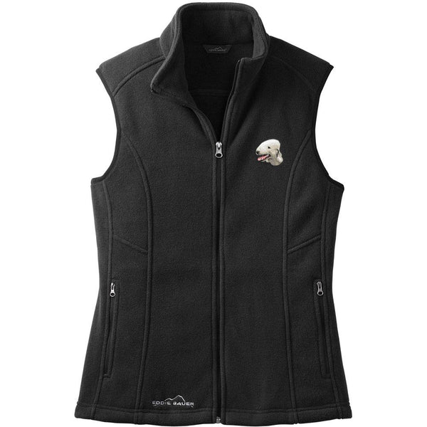 Embroidered Ladies Fleece Vests Black 3X Large Bedlington Terrier D35