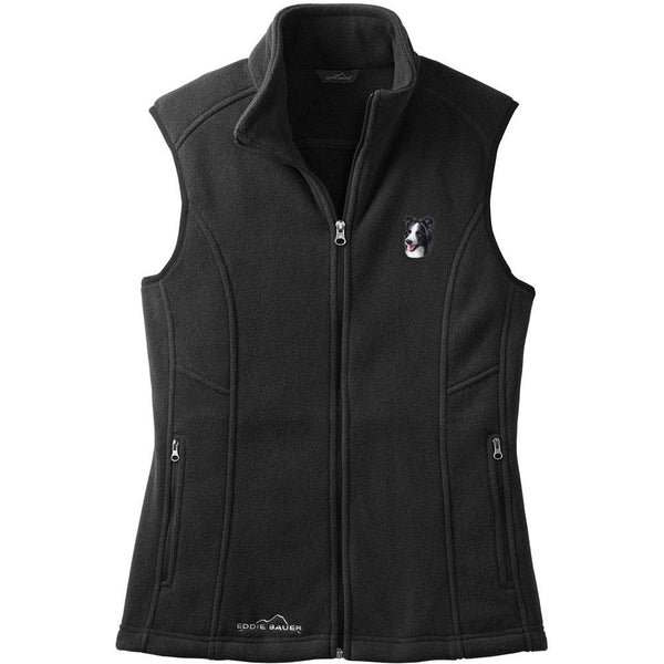 Embroidered Ladies Fleece Vests Black 3X Large Border Collie D16