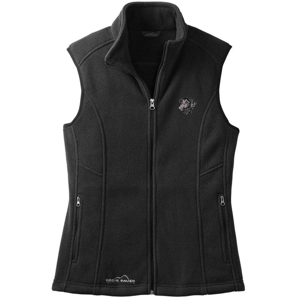 Embroidered Ladies Fleece Vests Black 3X Large Curly Coated Retriever D137