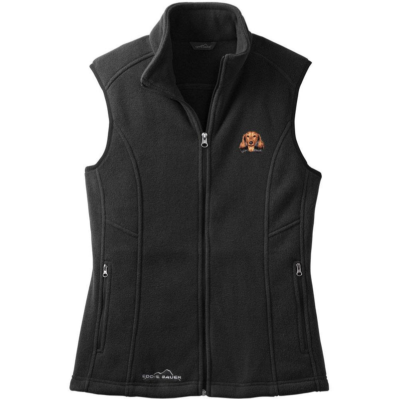 Embroidered Ladies Fleece Vests Black 3X Large Dachshund D109