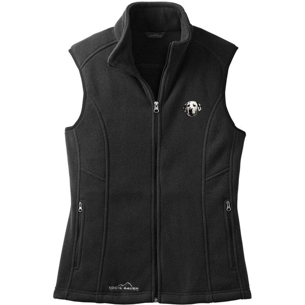 Embroidered Ladies Fleece Vests Black 3X Large Dalmatian D2