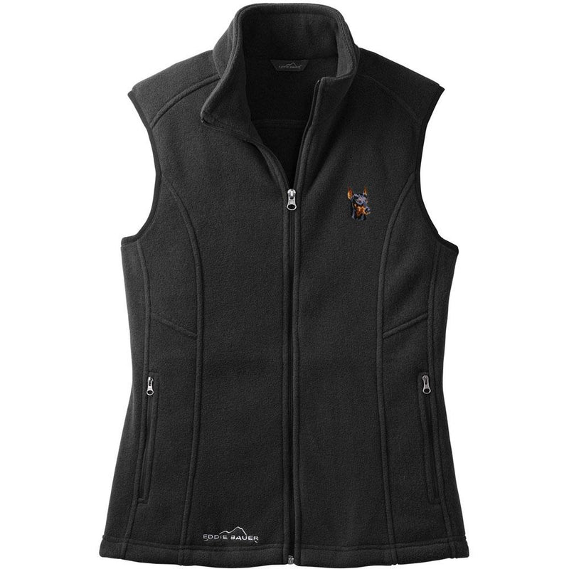 Embroidered Ladies Fleece Vests Black 3X Large Doberman Pinscher DM346