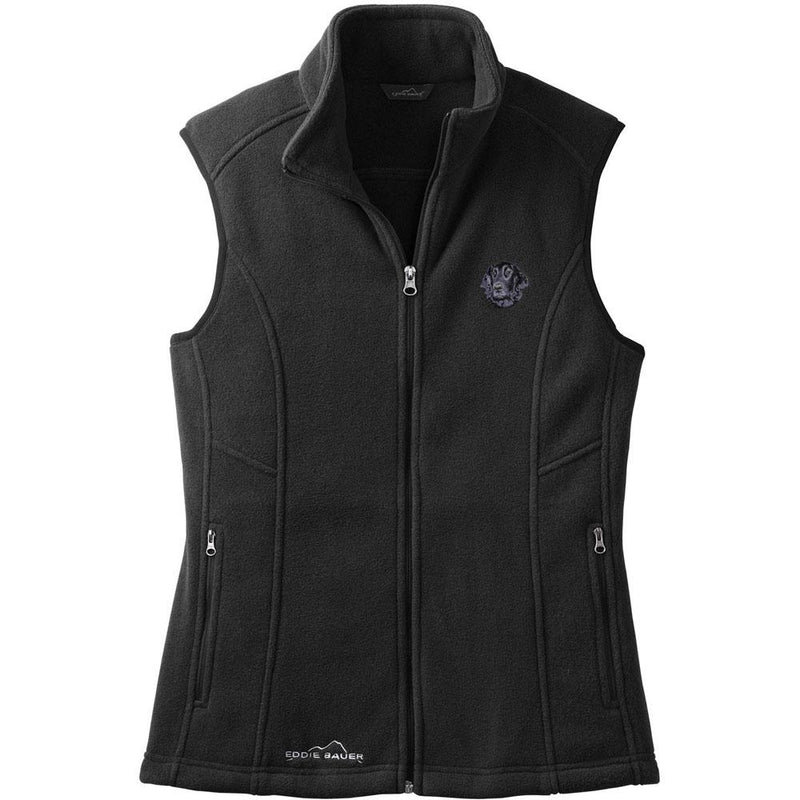 Embroidered Ladies Fleece Vests Black 3X Large Flat Coated Retriever D53