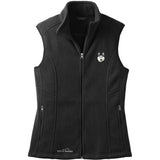 Embroidered Ladies Fleece Vests Black 3X Large Siberian Husky D121