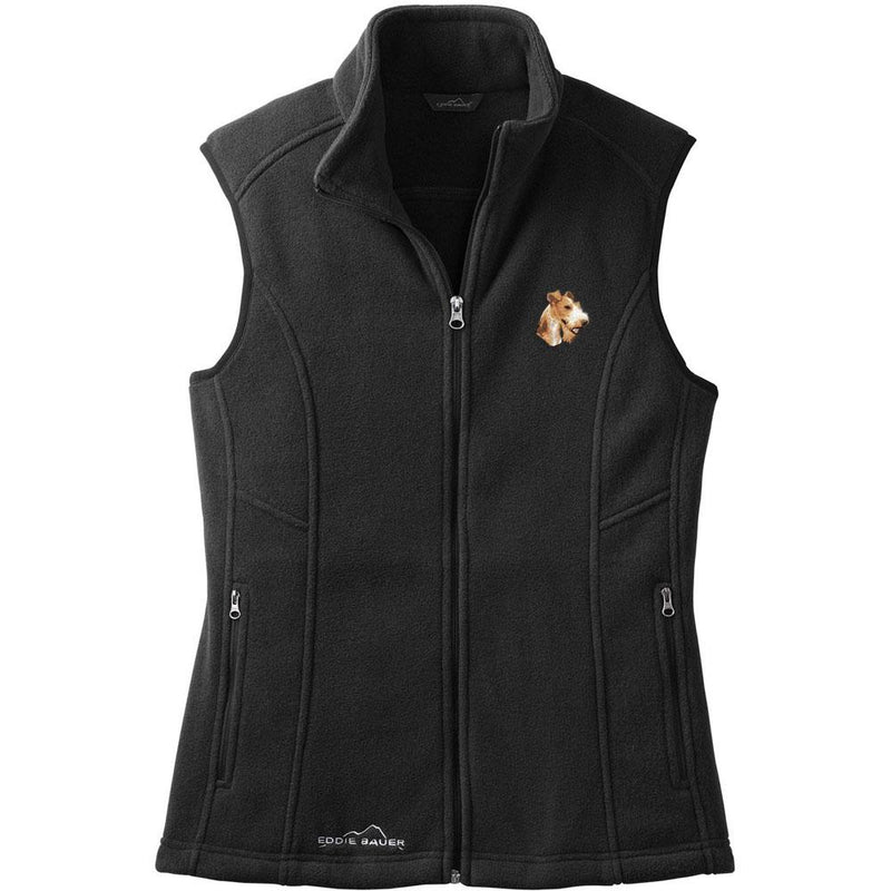 Embroidered Ladies Fleece Vests Black 3X Large Wire Fox Terrier D107