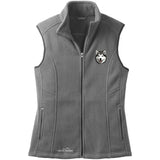 Embroidered Ladies Fleece Vests Gray 3X Large Alaskan Malamute D33