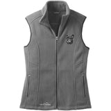 Embroidered Ladies Fleece Vests Gray 3X Large French Bulldog DV352