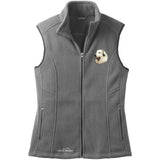 Embroidered Ladies Fleece Vests Gray 3X Large Great Pyrenees D27