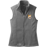 Embroidered Ladies Fleece Vests Gray 3X Large Shiba Inu D91
