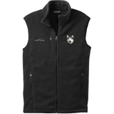 Embroidered Mens Fleece Vests Black 3X Large Alaskan Malamute D33