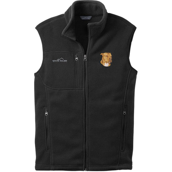 Embroidered Mens Fleece Vests Black 3X Large American Staffordshire Terrier DN334