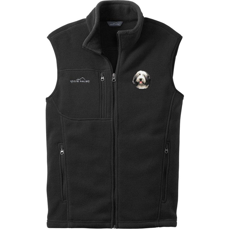 Embroidered Mens Fleece Vests Black 3X Large Bearded Collie D37