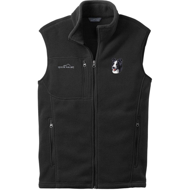 Embroidered Mens Fleece Vests Black 3X Large Border Collie D16