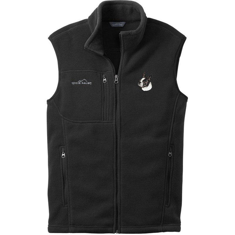 Embroidered Mens Fleece Vests Black 3X Large Boston Terrier D50