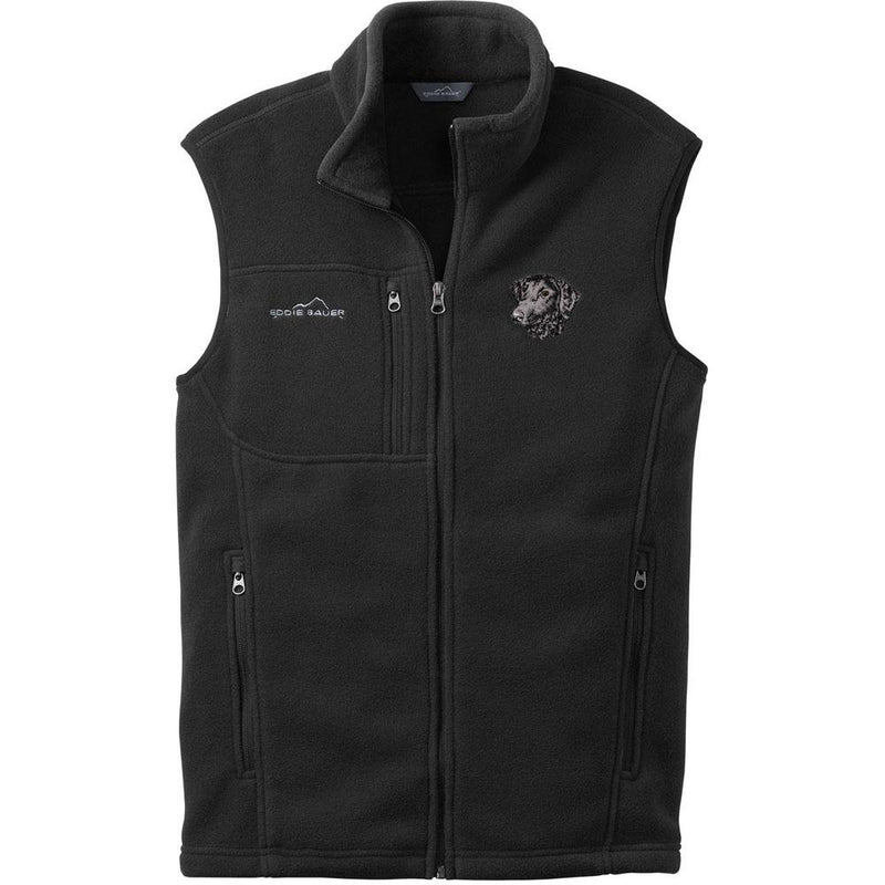 Embroidered Mens Fleece Vests Black 3X Large Curly Coated Retriever D137