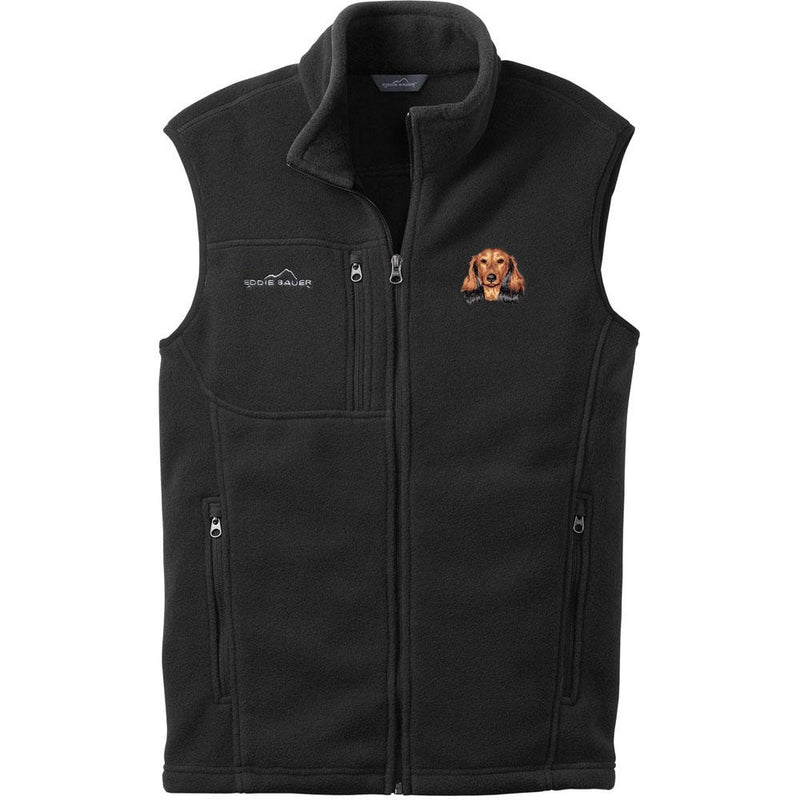 Embroidered Mens Fleece Vests Black 3X Large Dachshund D109