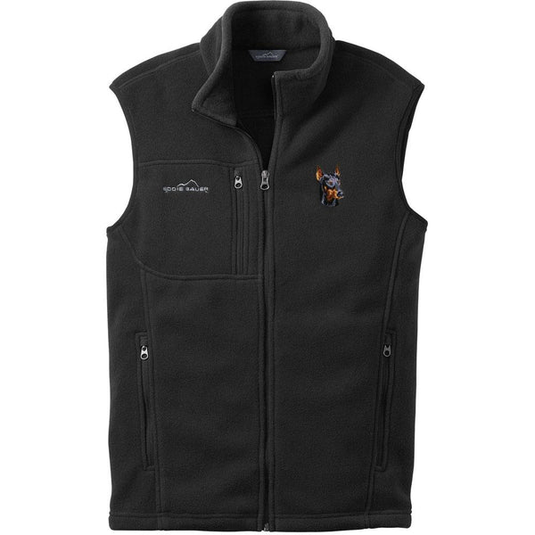Embroidered Mens Fleece Vests Black 3X Large Doberman Pinscher DM346