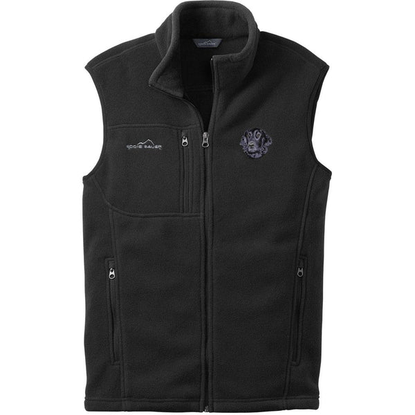 Embroidered Mens Fleece Vests Black 3X Large Flat Coated Retriever D53