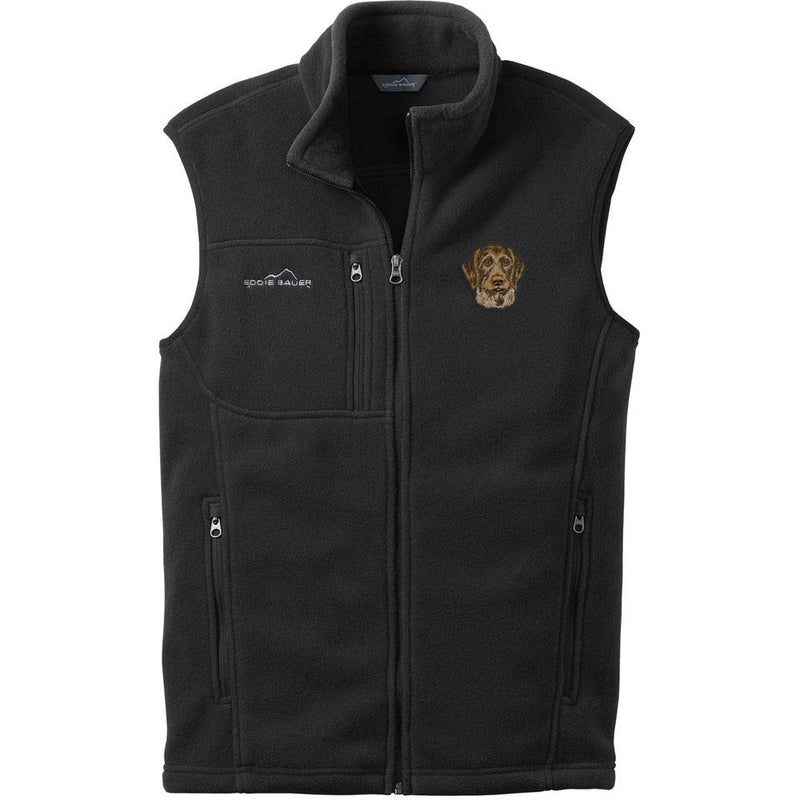 Embroidered Mens Fleece Vests Black 3X Large German Wirehaired Pointer DV467
