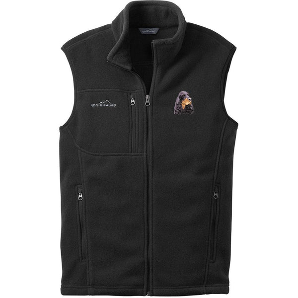 Embroidered Mens Fleece Vests Black 3X Large Gordon Setter D78