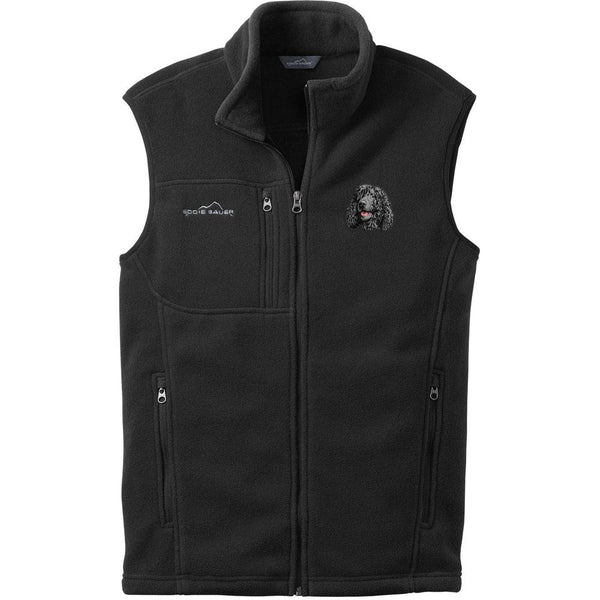 Embroidered Mens Fleece Vests Black 3X Large Irish Water Spaniel D145