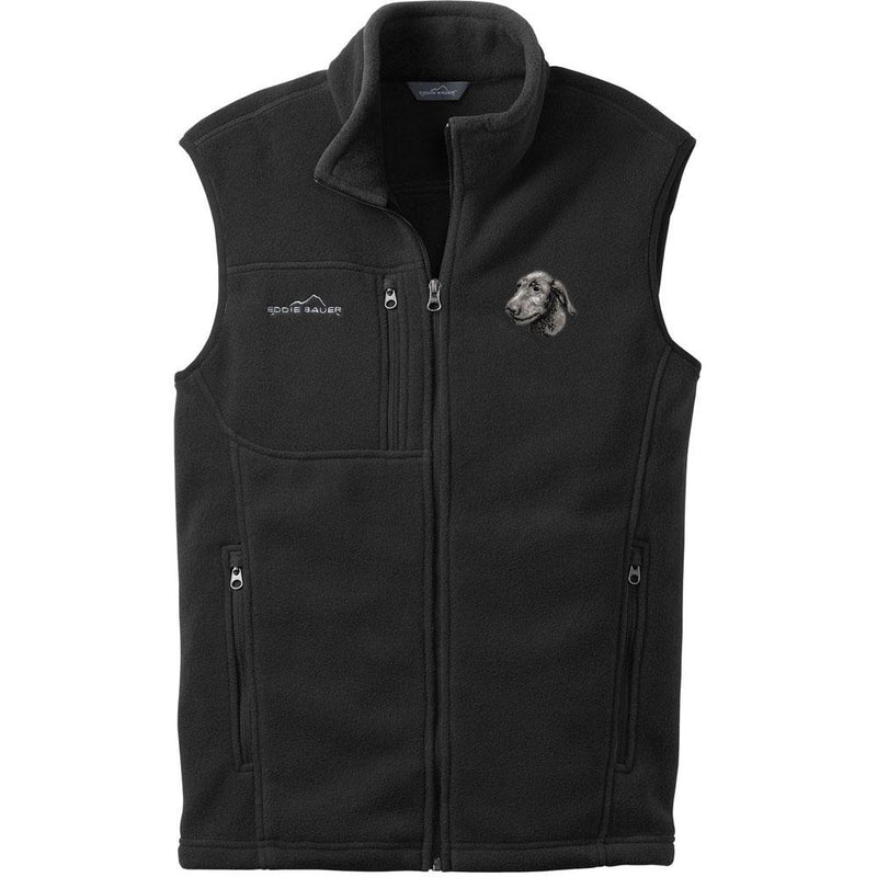 Embroidered Mens Fleece Vests Black 3X Large Irish Wolfhound D75