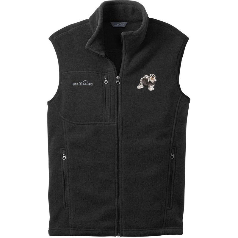 Embroidered Mens Fleece Vests Black 3X Large Lowchen DJ325